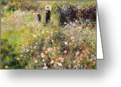 Pierre Auguste (1841-1919) Greeting Cards - Summer Landscape Greeting Card by Pierre Auguste Renoir