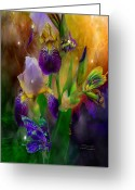 Iris Art Mixed Media Greeting Cards - Summer Life Greeting Card by Carol Cavalaris