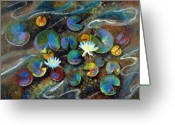 Lilly Pad Greeting Cards - Summer Lillies Greeting Card by Art Nomad Sandra  Hansen