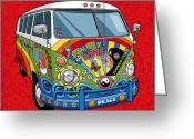 Hippie Greeting Cards - Summer of Love Greeting Card by Ron Magnes