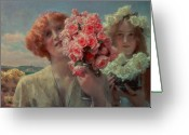 Alma-tadema Greeting Cards - Summer Offering Greeting Card by Sir Lawrence Alma Tadema