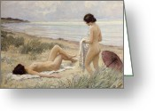 Oil Greeting Cards - Summer on the Beach Greeting Card by Paul Fischer