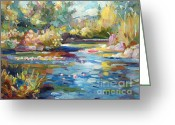 Most Greeting Cards - Summer Pond Greeting Card by David Lloyd Glover