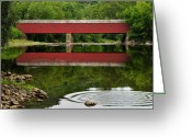 Kent Connecticut Greeting Cards - Summer Reflections at West Cornwall Covered Bridge Greeting Card by Thomas Schoeller