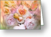 Pastel Roses Greeting Cards - Summer Roses Greeting Card by Carol Cavalaris
