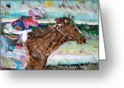Animal Sport Greeting Cards - Summer Squall Horse Racing Greeting Card by Mindy Newman