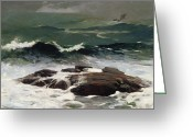 Signed Painting Greeting Cards - Summer Squall Greeting Card by Winslow Homer
