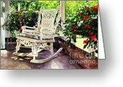 Rocking Chairs Greeting Cards - Summer Sun Porch Greeting Card by David Lloyd Glover