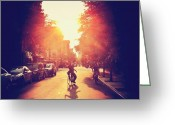 Bicycle Greeting Cards - Summer Sunlight - Lower East Side - New York City Greeting Card by Vivienne Gucwa