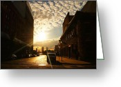 Cobblestone Street Greeting Cards - Summer Sunset Over a Cobblestone Street - New York City Greeting Card by Vivienne Gucwa