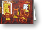 Rocking Chairs Reliefs Greeting Cards - Summer time Greeting Card by Dee Timm