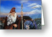 Sorcerer Greeting Cards - Summers End Greeting Card by J W Baker