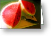 Watermelon Greeting Cards - Summertime and the living is easy Greeting Card by James Temple