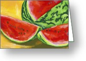 Watermelon Painting Greeting Cards - Summertime Delight Greeting Card by Stephen Anderson