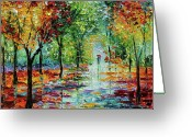 Trees Oil Greeting Cards - Summet Rain Greeting Card by Beata Sasik