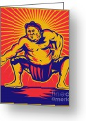 Male Greeting Cards - Sumo wrestler crouching retro woodcut Greeting Card by Aloysius Patrimonio
