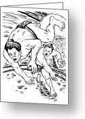 Game Greeting Cards - Sumo Wrestlers Greeting Card by Aloysius Patrimonio
