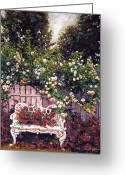 Rose Bushes Greeting Cards - Sumptous Cascading Roses Greeting Card by David Lloyd Glover