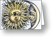 Man In The Moon Greeting Cards - Sun And Moon, 1493 Greeting Card by Granger