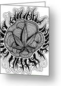 Counterculture Greeting Cards - Sun Greeting Card by Andrew Padula