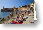 Cruise Ship Greeting Cards - Sun bathers in Sestri Levante in the Italian Riviera in Liguria Italy Greeting Card by David Smith