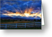 Landscape Posters Greeting Cards - Sun beams in the sky at sunset Greeting Card by James Bo Insogna
