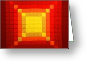 Wall Quilt Tapestries - Textiles Greeting Cards - Sun Burst Greeting Card by Mildred Thibodeaux