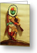 Wood Sculpture Sculpture Greeting Cards - Sun Dancer with Flute Greeting Card by Russell Ellingsworth