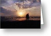 Lovers Embrace Greeting Cards - Sun Lovers Greeting Card by Peter Chilelli