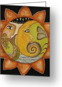 Folk Art Greeting Cards - Sun Moon and Mermaid Greeting Card by Rain Ririn