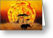 African Animals Painting Greeting Cards - Sun Of Africa 4 Greeting Card by James Dunbar
