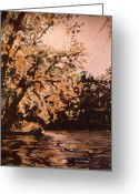 Indiana Autumn Greeting Cards - Sun on the White River Greeting Card by Addie May Hirschten
