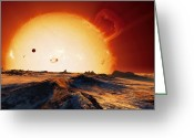 Swollen Greeting Cards - Sun Over Dying Earth, Artwork Greeting Card by Detlev Van Ravenswaay