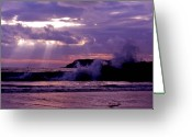 Rough-seas Greeting Cards - Sun pokes though clouds by stormy sea Greeting Card by Sven Brogren