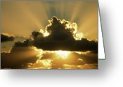 Cumulus Cloud Greeting Cards - Sun Rays Beam From Behind Cumulus Clouds Greeting Card by Aad Schenk