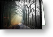 Road Trip Greeting Cards - Sun Rays Coming Through Sky Greeting Card by Bob Van Den Berg Photography
