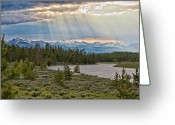 Snowcapped Greeting Cards - Sun Rays Filtering Through Clouds Greeting Card by Trina Dopp Photography