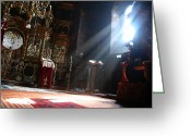 Byzantine Icon Photo Greeting Cards - Sun rays in orthodox church Greeting Card by Emanuel Tanjala