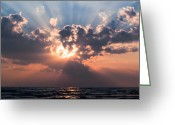 Hamburg Greeting Cards - Sun Rays Greeting Card by Peter Chilelli