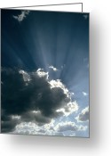 Cumulus Cloud Greeting Cards - Sun Rays Shining From Behind A Cloud Greeting Card by Tony Craddock