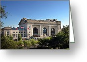 Kansas City Greeting Cards - Sun Rising On Union Station In Kansas City Greeting Card by Andee Photography