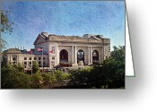 Kansas City Missouri Greeting Cards - Sun Rising On Union Station In Kansas City TV Greeting Card by Andee Photography