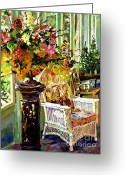 Wicker Chair Greeting Cards - Sun Room Greeting Card by David Lloyd Glover