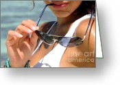 Glasses Greeting Cards - Sun Seduction. Hooked on a Feeling Greeting Card by Jenny Rainbow