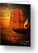 Ocean Pyrography Greeting Cards - Sun Set and Ship Greeting Card by Eugene James