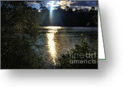 Vacationers Greeting Cards - Sun set on the river Greeting Card by Josephine Caruana