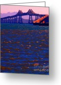 Purples Digital Art Greeting Cards - Sun Setting Beyond The Richmond-San Rafael Bridge - California - 5D18435 Greeting Card by Wingsdomain Art and Photography