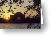 Landmarks Greeting Cards - Sun Setting Over The Jefferson Memorial Greeting Card by Kenneth Garrett