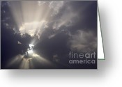 Dark Cloud Greeting Cards - Sun shining through clouds Greeting Card by Sami Sarkis