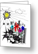 Bright Drawings Greeting Cards - Sun Shiny Day Greeting Card by Teddy Campagna